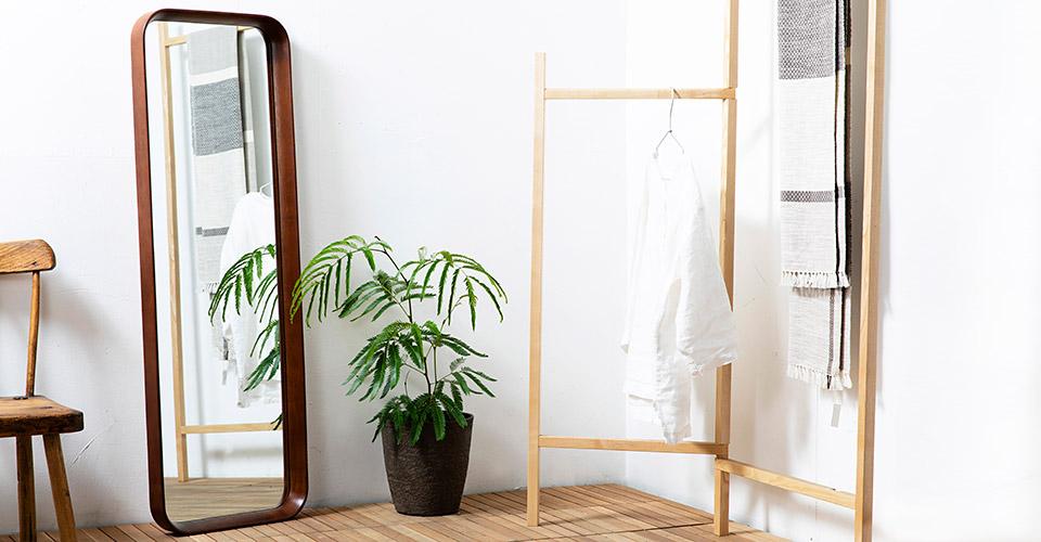 木製フレームの全身鏡 クルベ レクタングル