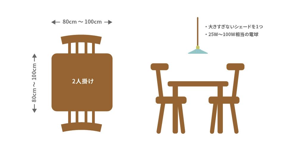 2人掛けのダイニングテーブルサイズ